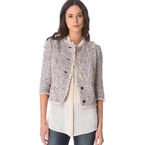 Tory Burch Emma Crop Knotted Tweed Jacket Sz 10
